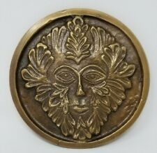 """Solid Brass GREEN MAN Altar Tile WiccaHoney Gold Finish 3.5"""" Round"""