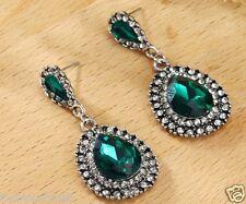 Long Ear Stud Hoop earrings 180 1 pair Fashion Woman's Green Crystal Rhinestone