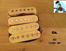 G.M. HSS PICKUP SET (Neck, Middle(RWRP)bridge humbucker)Cream