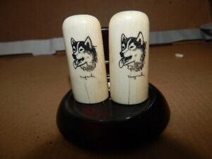 Vintage Nuguruk Alaskan Salt/ Pepper With Husky Heads