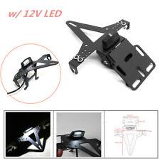 12V Motorcycle Iron Fender License Plate Holder Kit Eliminator w/ LED Taillight