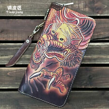 Chinese tranditional dragon long wallet genuine leather handmade mens wallet