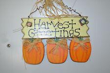 """Wood """"Harvest Greetings"""" wall or door hanger - Fb4"""