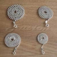 Solid Sterling 925 Silver Round Bead BALL Strong Chain Necklace Anklet Bracelet