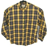 Eddie Bauer Mens Long Sleeve Flannel Shirt Sz L Yellow Plaid Button Down
