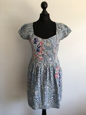 Joe Browns Blue Embroidered Cotton Summer Dress Size 10 12 Designer Mini