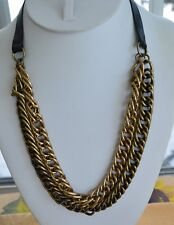 Brass tone Heavy Chain Link Necklace, Faux Leather, Adjustable, NWT