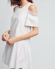 NWT Anthropologie Open-Shoulder White Poplin Dress Size Small Moon River
