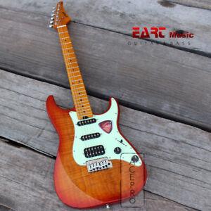 Honey Burst Eart Electric Guitar, Wilkinson Tremolo Bridge, Mint Green Pickguard