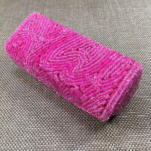Vintage MK Signature Pink Beaded Lipstick Case - Excellent Condition [ML30]