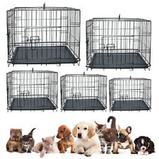 Pet Cage Dog Puppy Metal Travel Training Crate Vet Cat Portable 2 Doors Carrier