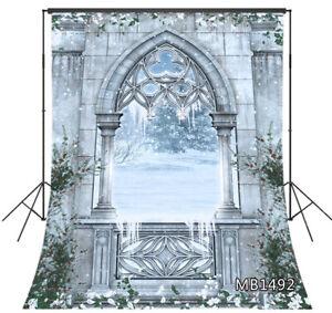 5x7ft Xmas Fairytale Castle Snowy Winter Garden Vinyl Backdrop Photo Background