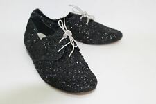 ANNIEL Ladies Black Round Toe Lace Up Glitter Oxford Shoes Size UK3 EU36