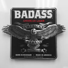17 Inch Badass American Lager Aluminum Embossed Metal Tin Tacker Sign