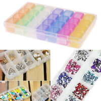 28 Slots Plastic Adjustable Jewelry Ring Storage Box Case Craft Organizer Beads