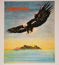 1984 Original Cuban Political Poster.Vintage Cold war graphic.Grenada.Bald Eagle