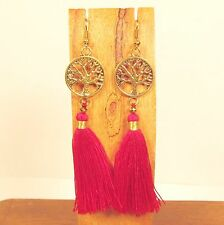 "3"" Long Red Tassel Tree of Life Charm Bohemian Style Handmade Dangle Earring"