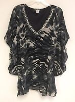 Women's Printed Embellished Batwing Dolman Sleeve Cinched Waist Blouse Top NWT