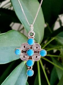CHRISTIAN- Gifts for Her-NATURAL Blue Turquoise STERLING SILVER Cross necklace