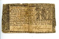 Colonial Currency 1st March 1770 $4.00 18 Shillings Maryland AA0977