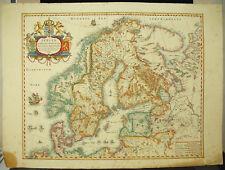 Carte de Scandinavie d'ap Willem Jan BLAEU c1900  Sweden Denmark Norway old map