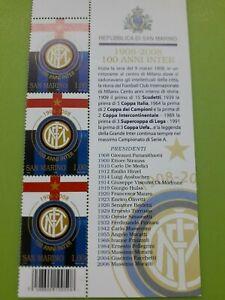 2008 San Marino 100° fondazione Inter striscia  con descrizione e codice barre