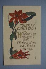 R&L Postcard: Christmas Greetings, 1913, Flower Floral Design