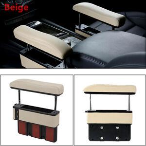 Beige Car Driver Seat Pocket Storage Armrest Box Organizer Holder w/ USB Part