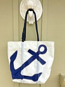 SEA BAGS MAINE Anchor Medium Tote, Navy & White