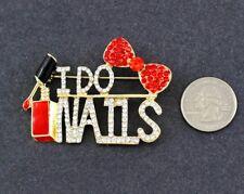 "Pin-Red Bow & Polish-2 1/2"" I Do Nails Rhinestone Cosmetologist Manacurist"