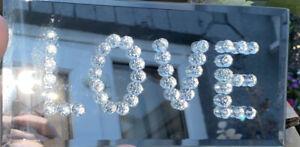 Silver mirrored Love Sign Plaque 22x11cm