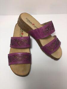 HAFLINGER Women's size 36 (6.5) Slide On Leather Sandals Purple