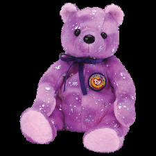 """TY BEANIE BABIES  """"CLUBBY VI THE PURPLE BEAR' RETIRED""""    MINT WITH MINT TAG"""