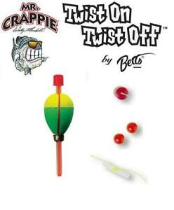 Betts Mr Crappie Twist On Twist Off Weighted Pear Float 2 Per Pack (Choose Size)