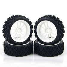 4Pcs Rubber Tires Wheel Rim For RC 1/10 Rally Racing Off Road Car PP0069+PP0487