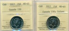 """Nice Deal, Pair 2017 Canada 25 cent """"Canada 150;Colour & Non Color"""" ICCS MS-65"""