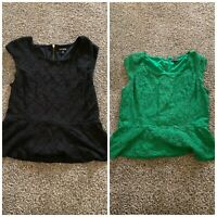 2 Shirts!! EXPRESS BLOUSE TOP Black And Green SIZE Large SHIRT FLORAL LACE