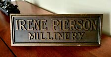 1920's Department Store Ladies Hats Millinery Nameplate
