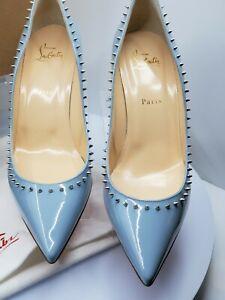 Christian Louboutin Anjalina 70 Patent Leather Lt. Blue (Horizon/Silver) Spiked