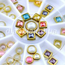 Colorful 3D Half Round Pearl Jewelry Metal Edge Stud Nail Art Decoration Wheel