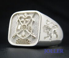 CUSTOM MADE FAMILY CREST SIGNET RING CUSHION 14MM STERLING SILVER 925 BY JOLLER