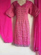 Salwar Kameez Saree Sari Indian Bollywood Fancy Dress Costume Pink (L)