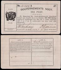 SOUTH AFRICA 1 POUND (P66) 1902 GOUVERNEMENTS NOOT GEF