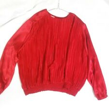 Impressions Woman Crimson Red Satin Gathered Longsleeve Top Size 22W Vintage
