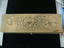 Antique Pyrography Burnt Wood Flemish Art Wooden Box Ties with flowers
