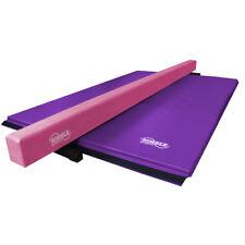 Nimble Sports Pink Suede Low Balance Beam and Purple Folding Gymnastics Mat