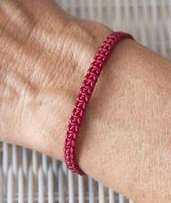 Bracelet brésilien amitié fil coton ciré tresse porte bonheur Dark rouge 21155