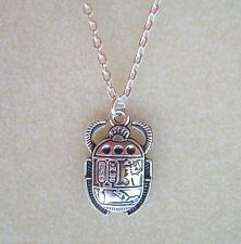 "Egyptian Scarab Beetle Pendant 20"" Chain Necklace in Gift Bag - Rebirth Eternity"