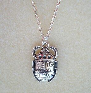 """Egyptian Scarab Beetle Pendant 20"""" Chain Necklace in Gift Bag - Rebirth Eternity"""