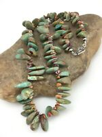 Native American Navajo Sterling Silver GREEN Turquoise Spiny Oyste Necklace 1282